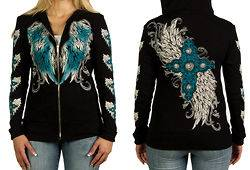 FEATHERS AND CROSS TATTOO DESIGN WOMENS HOODIE FOR HARLEY DAVIDSON