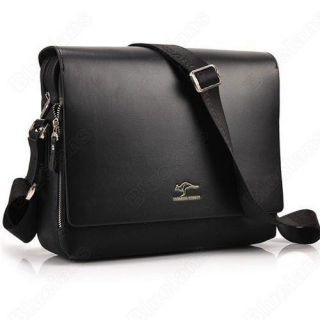 Kangaroo Mens Crossbody Shoulder Messenger Bag Briefcase Black M