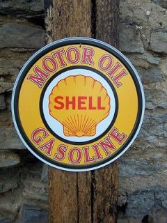 Antique Style Shell Oil Gas Filling Station Pump Sign Ad Retro Garage