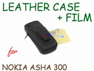 Leather Soft Case Holder w/ Clip + Film for Nokia Asha 300 ZVLR199