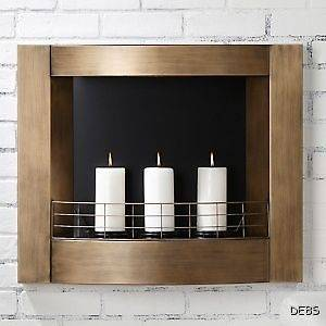 Cowie Wall Mount Indoor/Outdoor Metal Fireplace Anti​que Gold New