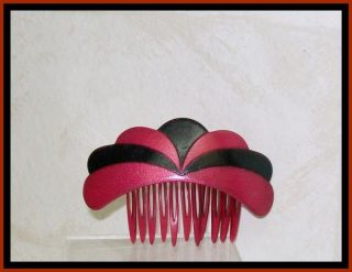 Hair COMB Art DECO Black CERISE Hand Made FRANCE Vintage