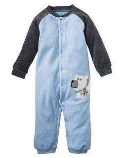 NWT Carters Baby Boy Clothes Coverall Blue Bear Velour 3 6 9 12 18 24