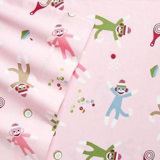Classics Pink Sock Monkey 3pc TWIN Flannel Sheet Set Cotton FREE SHIP