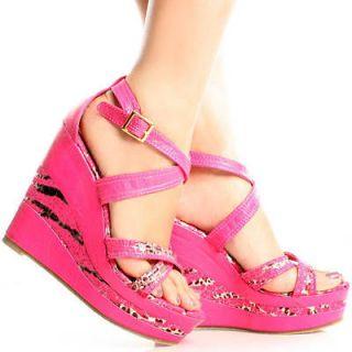 Pink Leopard Zebra Open Toe Womens High Heel Platform Wedge Shoes Size