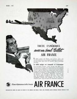 1955 Ad Air France Airplane Flight Ticket French Advertising Cheval