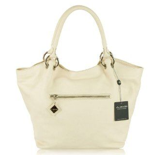 ARCADIA Italian Made Cream Leather Designer Tote Handbag