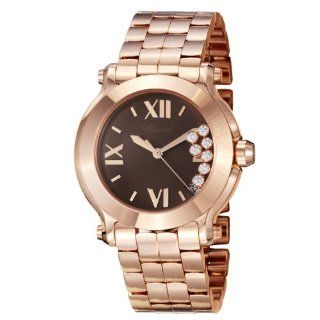 Chopard Happy Sport Round Ladies Brown Dial Rose Gold Diamond Watch