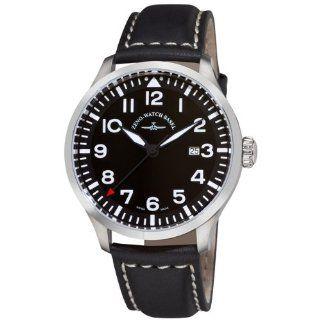 Zeno Mens 6569 515Q A1 Navigator Black Leather Strap Watch Watches