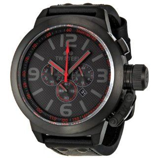 TW Steel Mens TW903 Cool Black Black Leather Strap Watch Watches