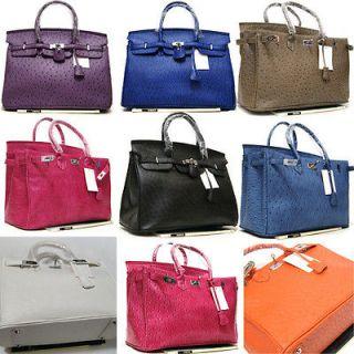 Fashion Womens Leather like Handbag Ostrich Grain Lock Tote Shoulder