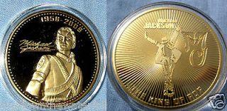 Michael Jackson Coin Gold Music Autograph Signature Medal Rap Motown