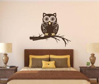 Owl On Branch Vinyl Decal Wall Sticker Mural Nursery Teen Room