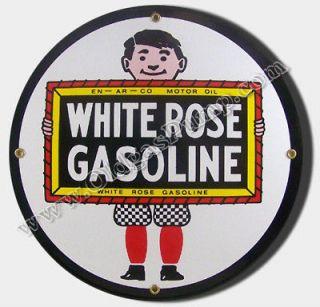 WHITE ROSE BOY GASOLINE 12 PORCELAIN GAS PUMP SIGN