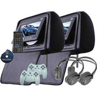 Swari HRTV7B 7 Headrest DVD Player Set (Black) HRTV7B B&H