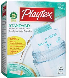 Playtex Pre Sterilized Disposable BPA Free Bottle Liners   125 count