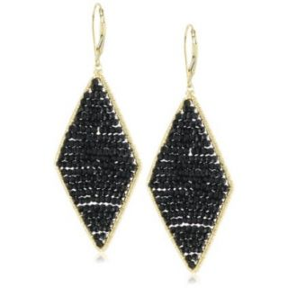 Dana Kellin Jet Crystal Large Diamond Shape Earrings   designer shoes