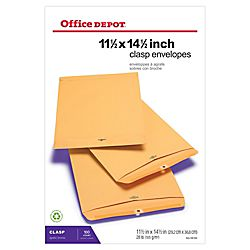 Office Depot® Brand Clasp Envelopes, 11 1/2 x 14 1/2, Brown, Box Of