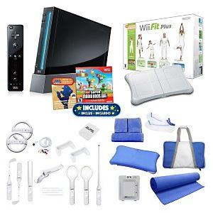 Nintendo Wii Black Super Fit Bundle with Wii Fit Plus, Wheels, Yoga