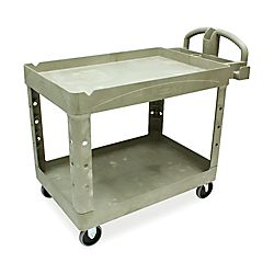 Rubbermaid Two Tiered Full Service Cart, 33 1/4H x 45 1/4W x 25 3/4