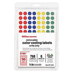 Office Depot Brand Removable Round Color Coding Labels 14 Diameter