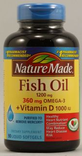 Nature Made Fish Oil Plus Vitamin D    1200 mg   90 Liquid Softgels