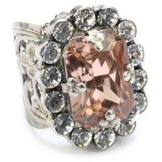 Sorrelli Snow Bunny Neutral Crystal Cluster Style Adjustable Ring