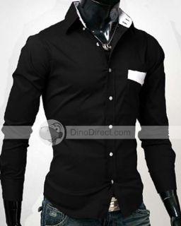Wholesale YW Long Sleeve Buttoned Folding Collar Men Casual Shirt