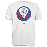 adidas NBA Basketball Logo T Shirt   Mens   76ers   White / Blue