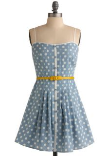 Loca for Polka Dress   Blue, Yellow, White, Polka Dots, Bows, Buckles