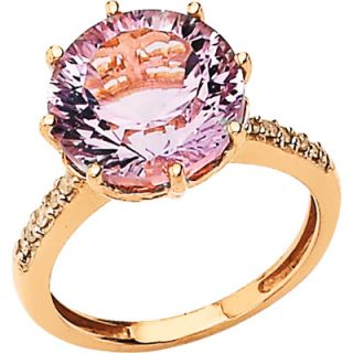 14K Rose Gold Pink Quartz and Diamond Ring  Meijer