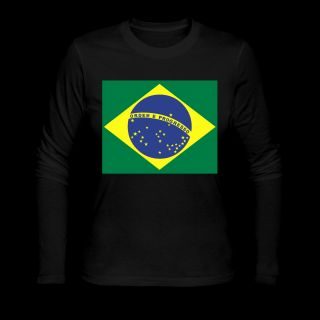 Black Brazilian Flag Long Sleeve Shirts