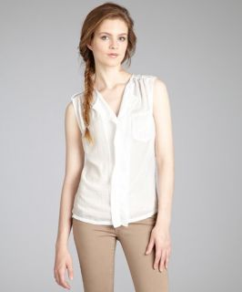 Renee C. white chiffon v neck sleeveless blouse