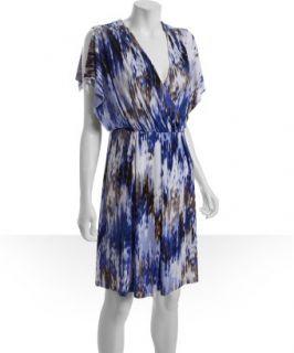 Calvin Klein blue printed jersey split sleeve dress   up to 70