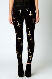 Clothing  Leggings  Leela Gold Foil Print Cross