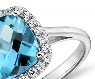 Swiss Blue Topaz and Diamond Cushion Ring in 14k White Gold (0.17 ct