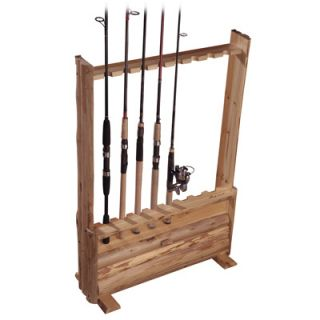 Rush Creek Rustic Pine Log 8 Rod Fishing Rod Rack with Storage