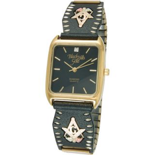 Black Hills Gold Mens Black Powder Coated Masonic Watch  Meijer