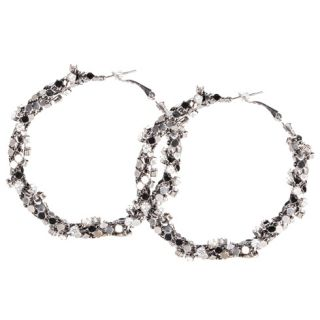 Womens Brash Twisted Mesh Rhinestone Hoop Earrings Payless ShoeSource