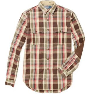 Polo Ralph Lauren Plaid Shirt with Suede Elbow Patches  MR PORTER