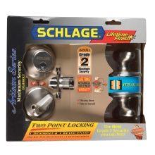 Schlage® Siena Knob & Single Cylinder Deadbolt in Satin Nickel