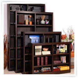 Concepts in Wood Double Wide Wood Veneer Bookcase   Espresso #HN
