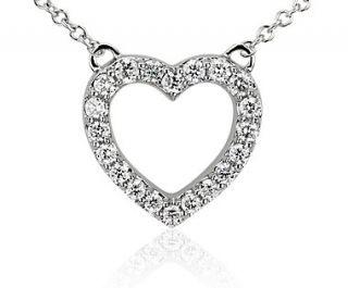 Diamond Mini Heart Pendant in 14k White Gold (1/6 ct. tw.)  Blue Nile