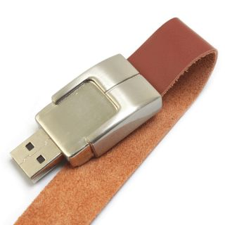 1GB Bracelet Leather USB Flash Drive Brown   Tmart
