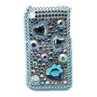 Heart Pattern Rhinestone Hard Plastic Case for iPhone 3G Blue   Tmart