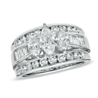 CT. T.W. Marquise Diamond Three Stone Ring in 14K White Gold   View