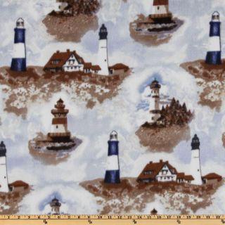 WinterFleece Lighthouses Fleece Multi   Discount Designer Fabric