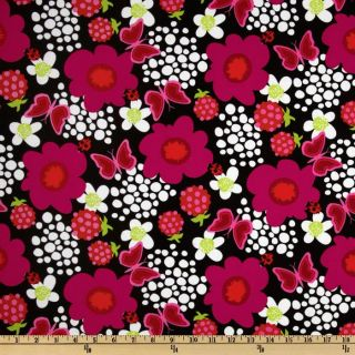 Butterfly Swirl Floral Black/Multi   Discount Designer Fabric