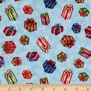 Frosty Friends Gifts Light Blue   Discount Designer Fabric   Fabric