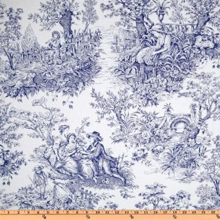 Timeless Treasures French Court Toile Navy/White   Discount Designer